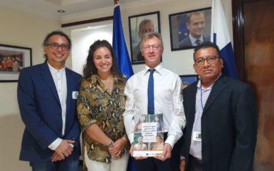 Tdh presenta los resultados y recomendaciones del proyecto en justicia juvenil indígena ante el embajador de la Unión Europea en Panamá