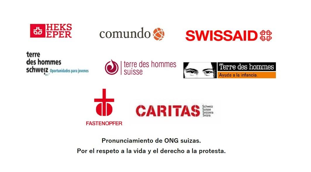 Pronunciamiento de ONG suizas. Por el respeto a la vida y el derecho a la protesta.